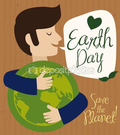Man Hugging World Representation in Earth Day