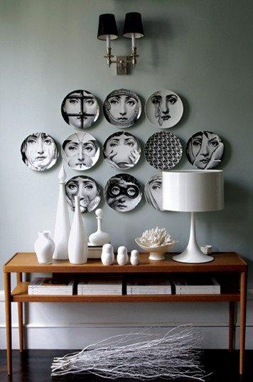 Fornasetti: Wall Art, Wall Decor, Decor Ideas, Interiors Design, Piero Fornasetti, House, Wall Plates, Plates Wall, Fornasetti Plates