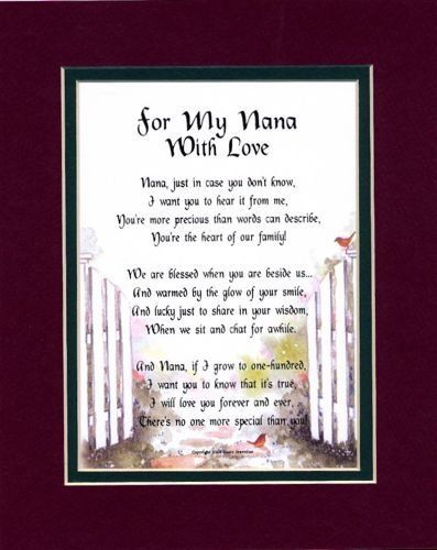"""For My Nana with Love"" Touching 8x10 Poem, Double-matted in Burgundy Over Dark Green and Enhanced with Watercolor Graphics. A Gift For A Grandmother. by Poems For Grandparents & Godparents, http://www.amazon.com/dp/B000WHB2G2/ref=cm_sw_r_pi_dp_Z3Jyrb1CWXKXE"