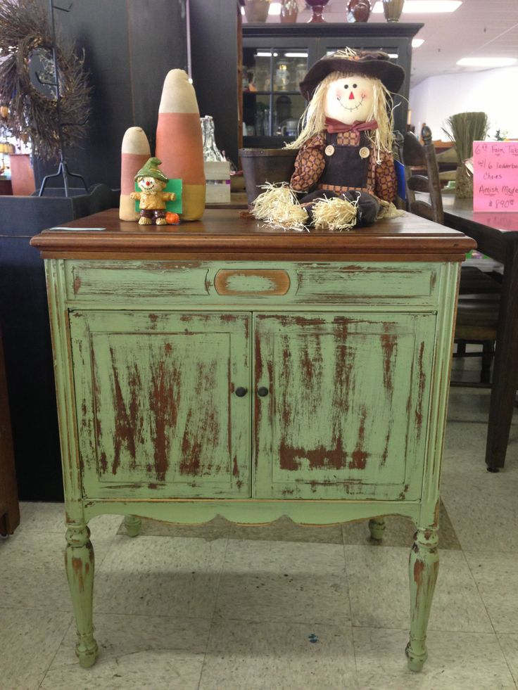 Old Victorola cabinet painted in Lucketts Green Miss