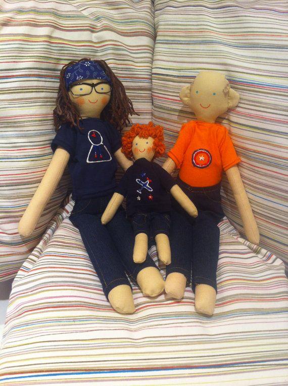 Family doll, family rag doll, custom personalized dolls
