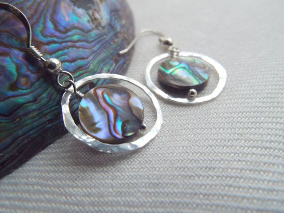 PAUA SHELL earrings Abalone earrings Hand forged by byLaurieB