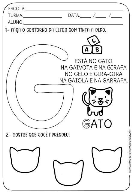 Atividade pronta - Alfabeto: Letra G