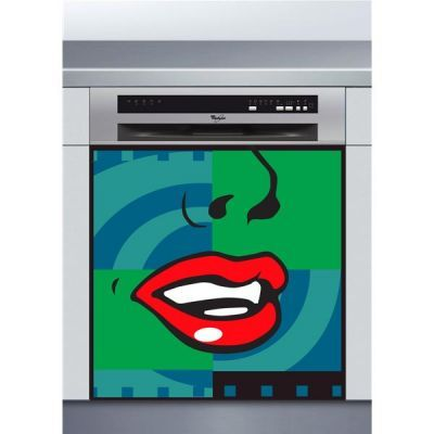Sticker Lave Vaisselle psychédélique, création Imprim'Déco, magasin vente en ligne stickers de décoration