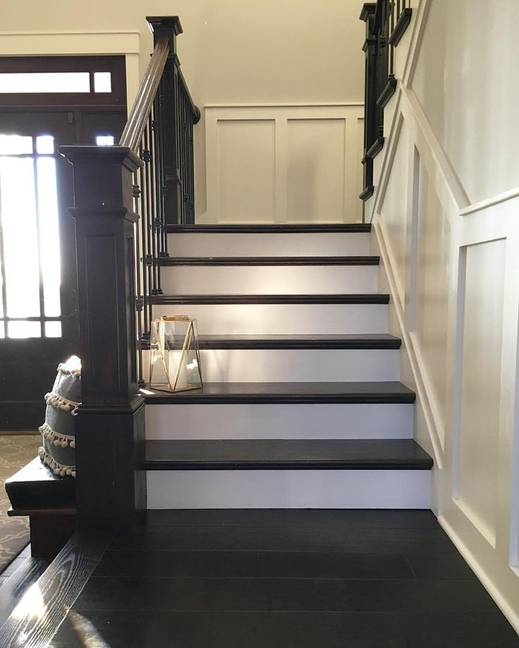 Modern farmhouse painted and stained stairs with brass lantern  Farmhouse Redefined