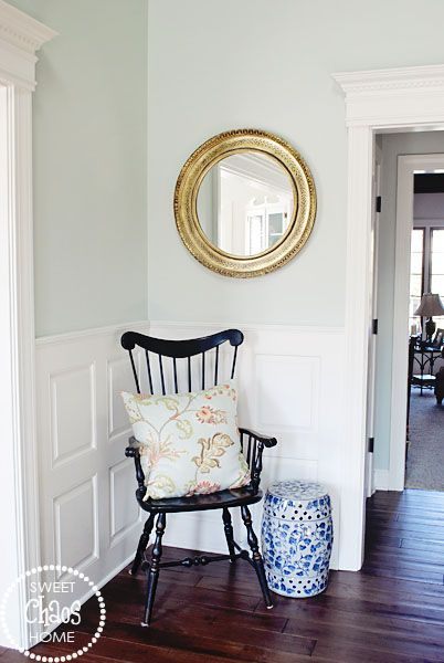 Sherwin Williams Sea Salt... Love the color and how black pops!!!
