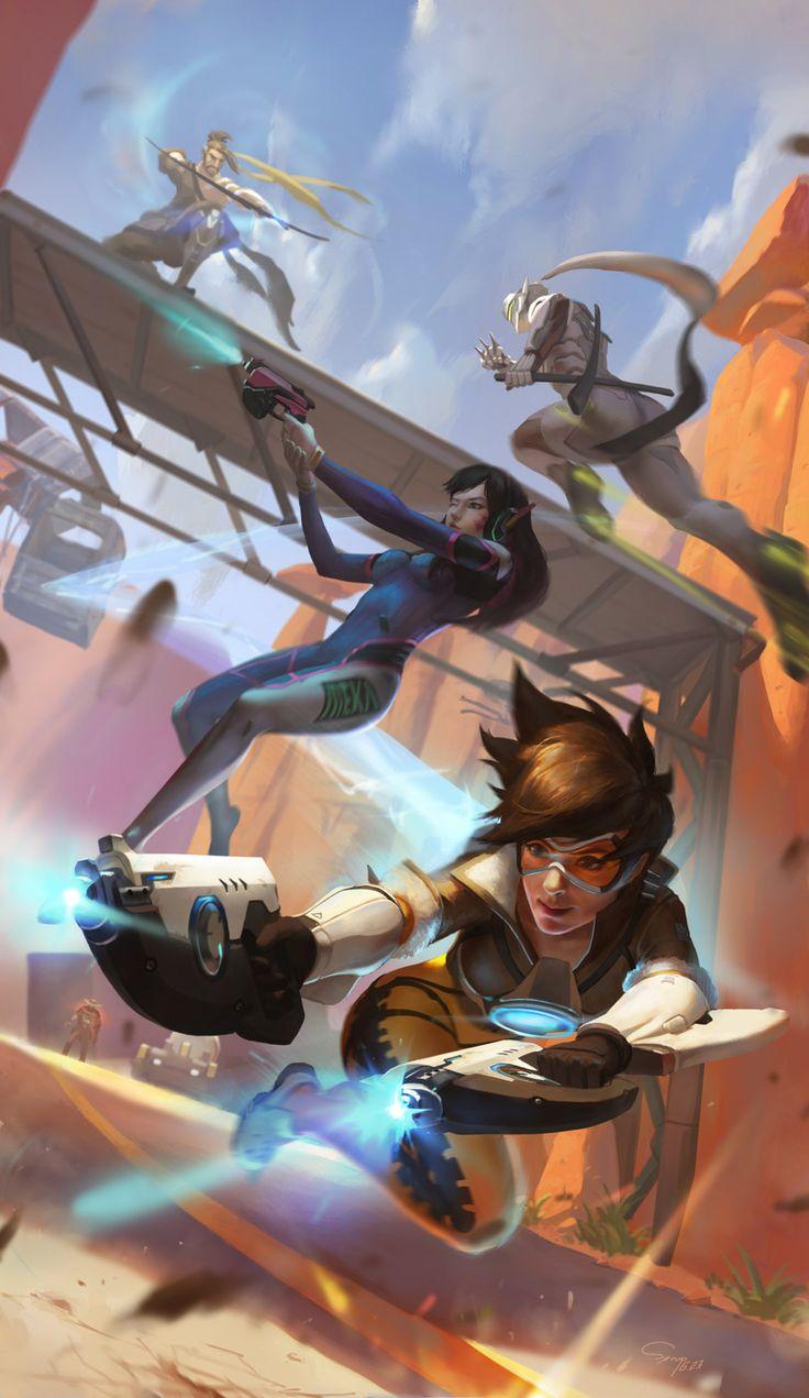 Blizzard,Blizzard Entertainment,фэндомы,Hanzo,Overwatch,Genji (Overwatch),D.Va,Tracer,McCree,Overwatch art,xiaofei syrup