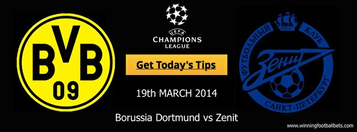 Last season's beaten finalists, #Borussia_Dortmund host #Zenit_St_Petersburg today, holding a two #goal advantage over their Russian opponents, and having the added cushion of #scoring four away goals in the reverse fixture - #football_betting_tips on our website - The site is different to others as it provides the user a high rate of success and offers a 60 money back guarantee! What could be better than a money back guarantee on #bets?