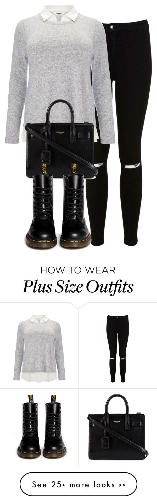 """Untitled #349"" by allysa-bojador on Polyvore featuring Miss Selfridge, Studio 8, Yves Saint Laurent and Dr. Martens"