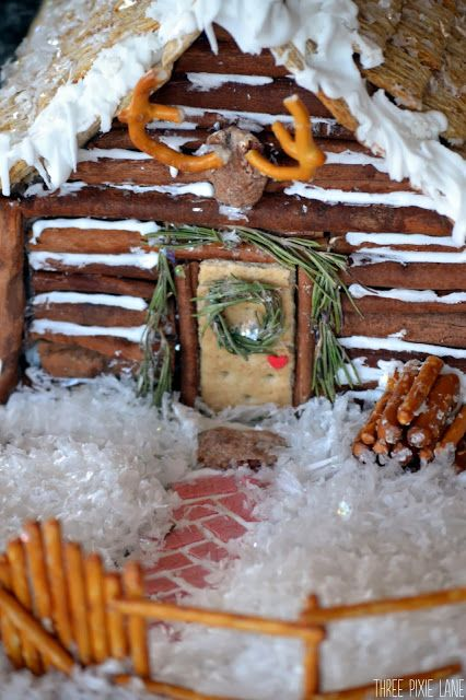 One of the cutest Christmas cookie/candy houses I've seen. Three Pixie Lane: Gingerbread Log Cabin