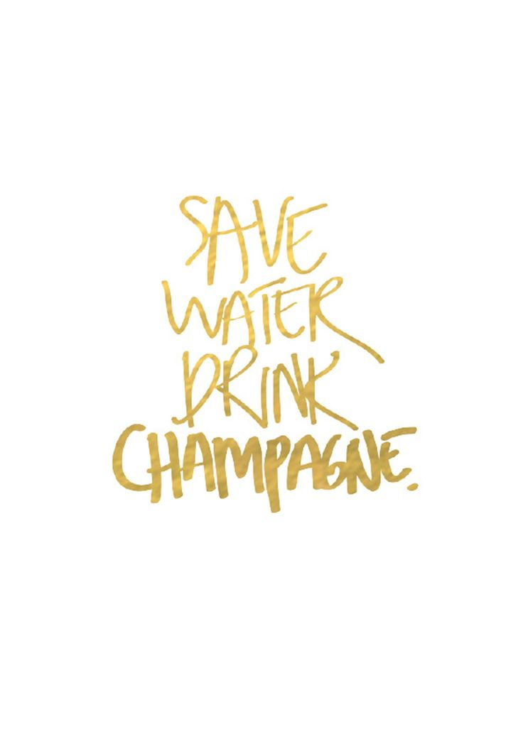 SAVE WATER DRINK CHAMPAGNE - GOLD FOIL- A4 - Print Favourites - Onceit