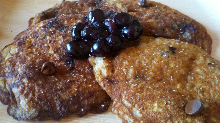 Blueberry Chocolate Chip Pancakes with a Blueberry Compote