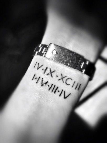 Tatuaggio numeri romani sul polso