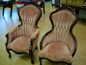 2 KIMBALL VICTORIAN GENTS LADIES PARLOR CHAIR SET : Lot 10189