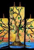 Ark curtains, Parochet,Torah covers,Torah mantles, Synagogue art, Mosaics, Huppah, Chuppah, Jewish art, wall-hanging synagogue, Torah cover, Torah mantel