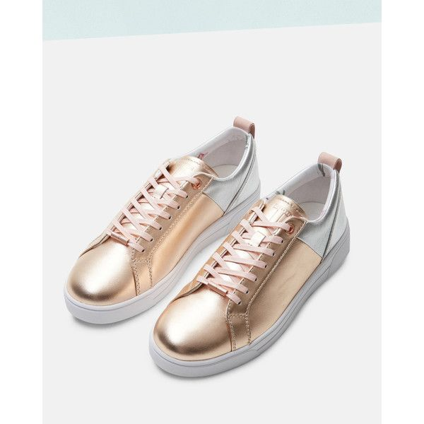 Metallic trim trainers ($120) ❤ liked on Polyvore featuring shoes, sneakers, ted baker trainers, ted baker shoes, lacing sneakers, laced sneakers and rubber sole shoes