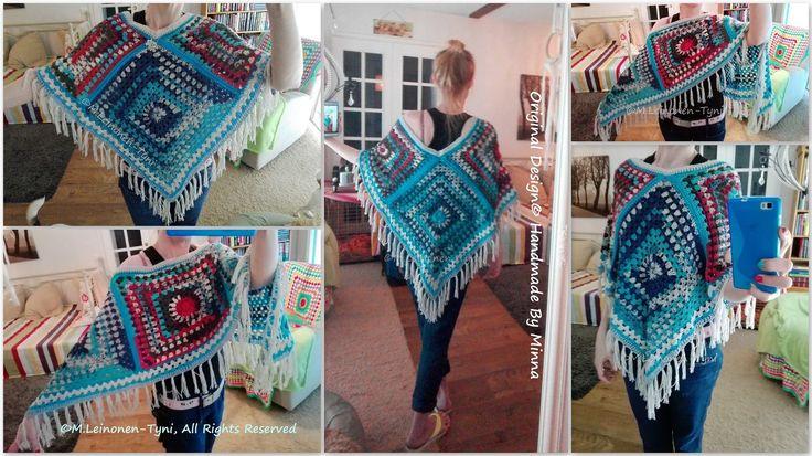 Virkattu Poncho, Crocheted boho style Poncho  -My own desing <3