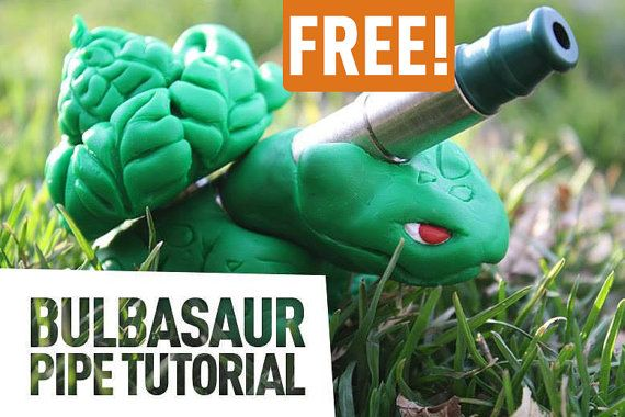 FREE Tutorial / DIY Bulbasaur Pokemon Pipe / PDF / Polymer Clay Sculpting Guide and Instructions / Free Link In Description