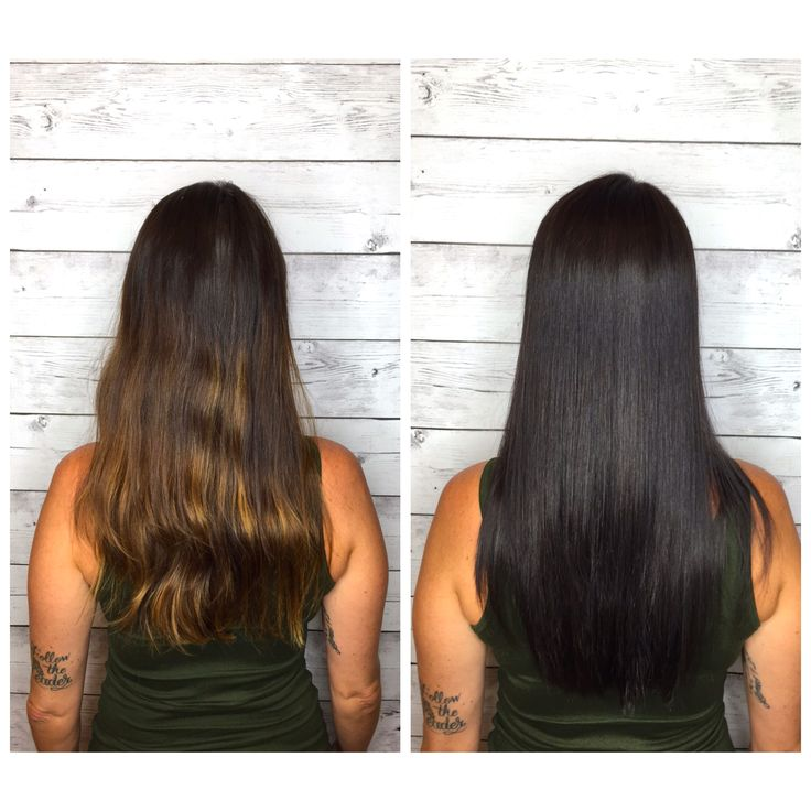 Sleek Dark Brown Black Hair Long Layers Joico 4n By