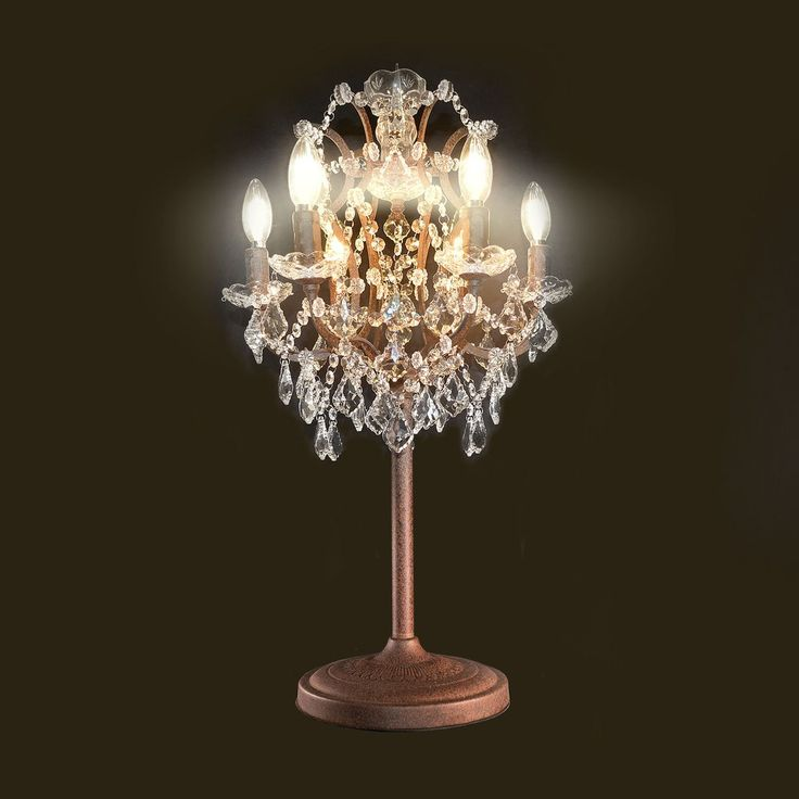 retro industrial rusted iron crystal table lamp. Black Bedroom Furniture Sets. Home Design Ideas