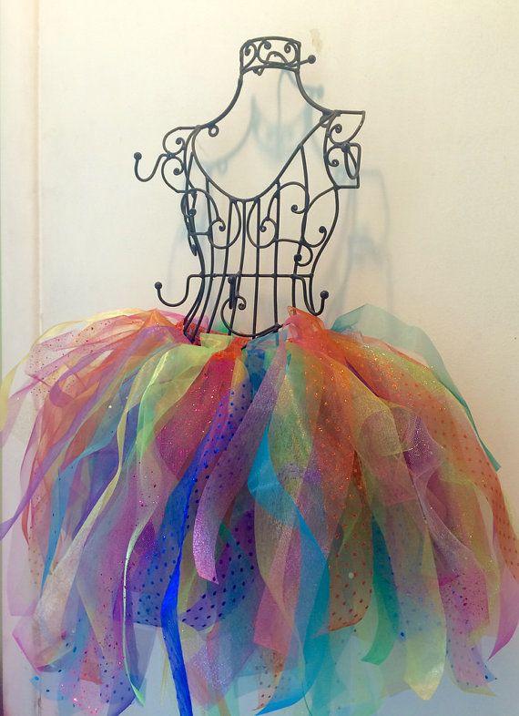 Rainbow Organza Multicolor Glitter Tutu by RainbowsAndKarma
