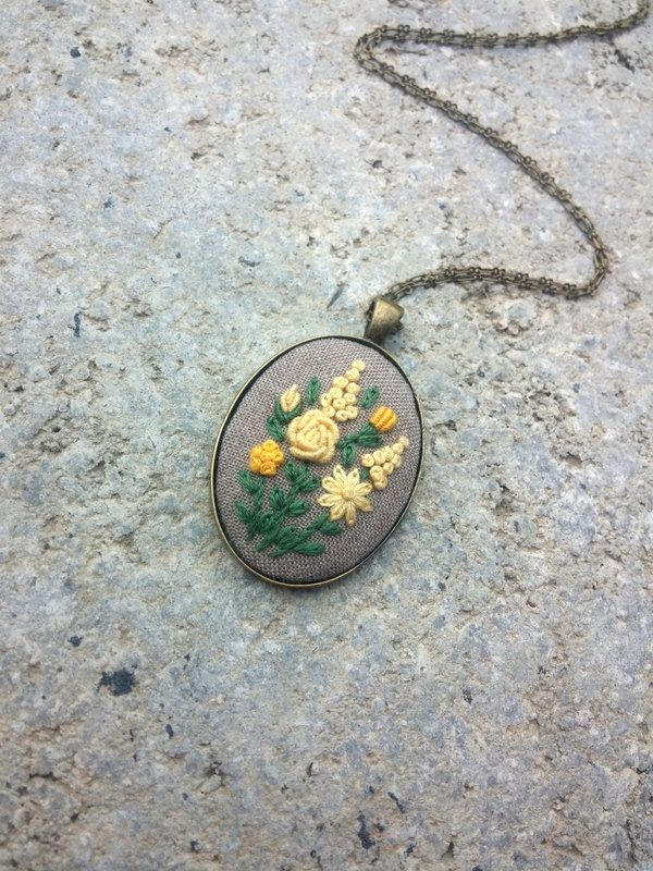 Yellow flower necklace Yellow pendant on chain Unique jewelry for women Cute necklace by RedWorkStitches on Etsy