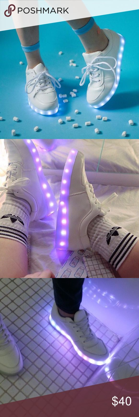 LED LIGHT UP WHITE SHOES BRAND NEW SIZE 8.5 Adorable pair of new led light up shoes that are in a woman's size US 8.5. Never worn and will come with the charger. Shoes Sneakers