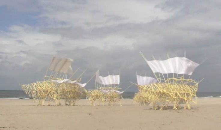 The artist Theo Jansen is probably one of the masters of kinetic art. He creates some incredible dynamic sculptures that use wind to start moving, creating fascinating and mesmerizing mechanical animals.