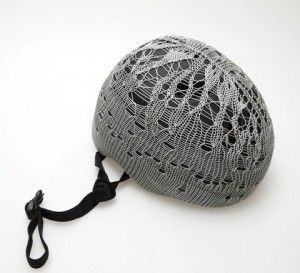 Pretty crocheted bike helmet cover.