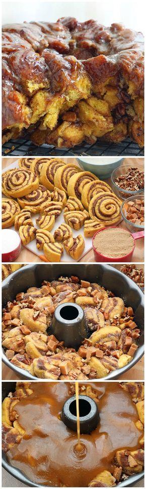 Pumpkin Cinnamon Roll Monkey Bread. Sweet pumpkin dough with swirls of cinnamon…