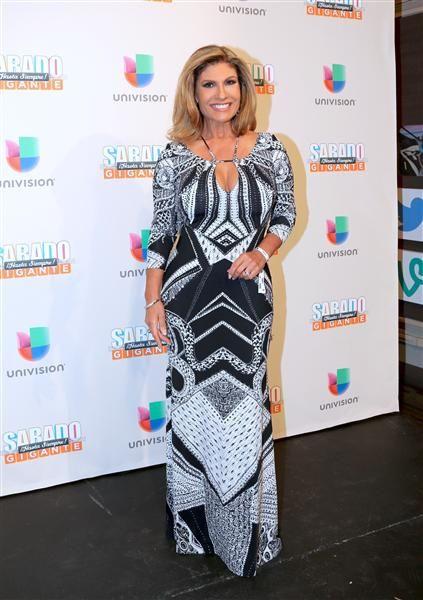 """Teresa Rodríguez en la alfombra del programa final de """"Sábado Gigante"""" conducido por Don Francisco en la cadena Univision, Miami, el 19 de septiembre de 2015."""