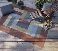 "Want to paint or stain a ""rug"" onto my deck this year - looking for ideas... Like this!: Decks Stained Ideas, Outdoor Rugs, Area Rugs, Decks Finish, Painting Porches Rugs, Wood Decks, Painting Decks Rugs, Decks Painting Ideas, Decks Painting Rugs"