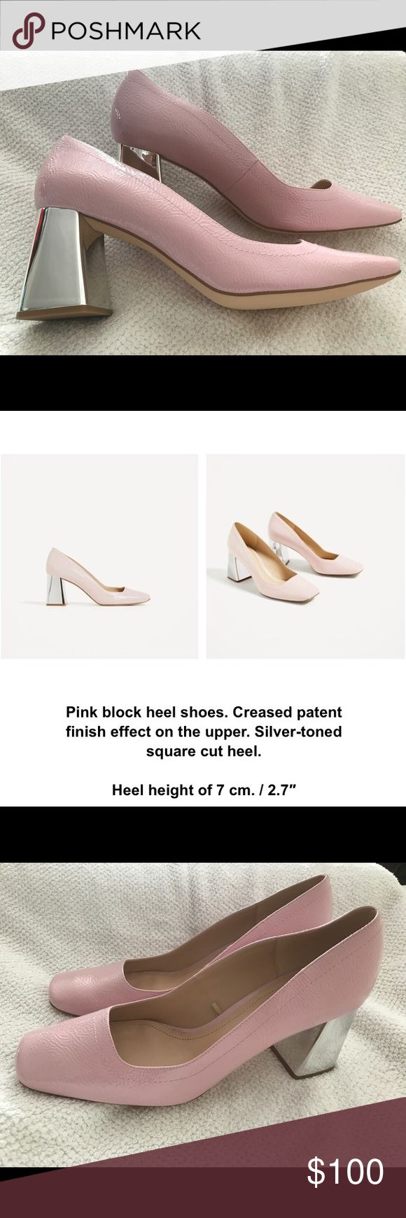 Pink Patten Shoe silver heel Zara pink court shoe w silver heel Zara Shoes Heels