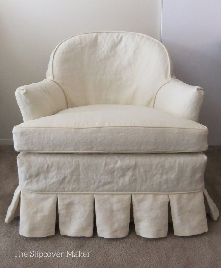 Custom slipcover in Hemp French Linen for a pair of vintage armchairs.