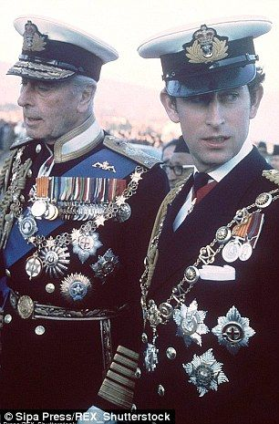 Lord Louis Mountbatten and Prince Charles. Elite over-dressing for Royal men tends to feature an enormous number of medals, chains, orders and stars. Lord Louis was born a mere Serene Highness (as a prince of Battenberg) and perhaps as compensation seemed to attach particular importance to his many honours and decorations.
