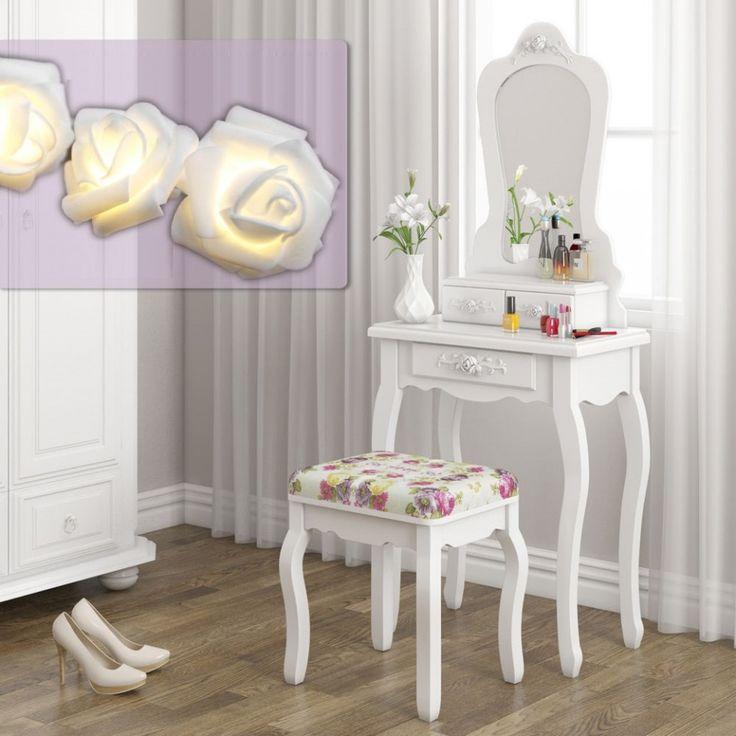 SEA301: http://www.emobili.ro/cumpara/sea301-set-masa-alba-toaleta-cosmetica-machiaj-oglinda-masuta-vanity-291 #eMobili