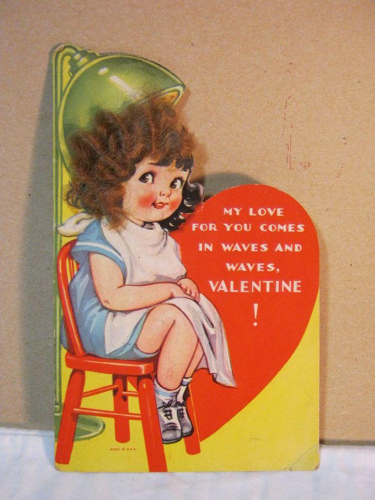 Vtg. Valentine Card Girl Sitting under Hair Dryer w/ curly hair Novelty  T*