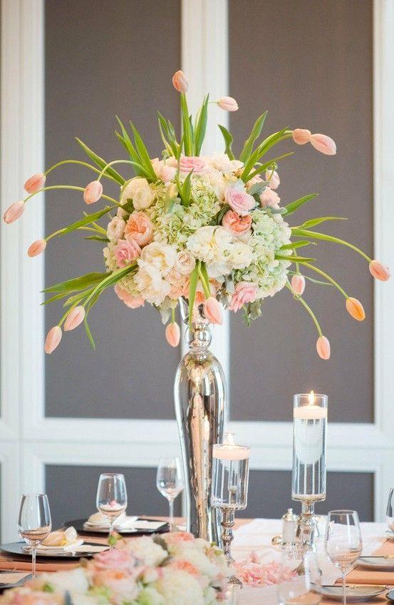 peach reception wedding flowers, wedding decor, wedding flower centerpiece, wedding flower arrangement