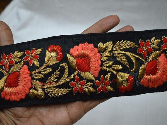 Wholesale Black Embroidered Decorative Indian Border Craft Ribbon Trim By 9 Yard Wholesale Trimming Sewing Trim Tape Costume Fashion trim