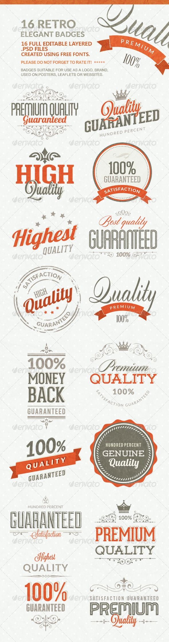 16 Retro Elegant Badges - Badges & Stickers Web Elements