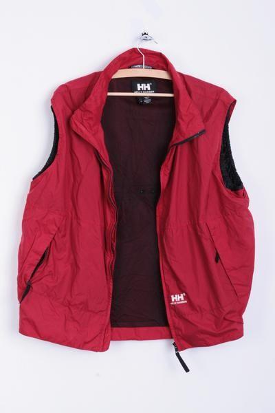Helly Hansen Mens L Bodywarmer Gilet Vest Sleeveless Red Nylon - RetrospectClothes