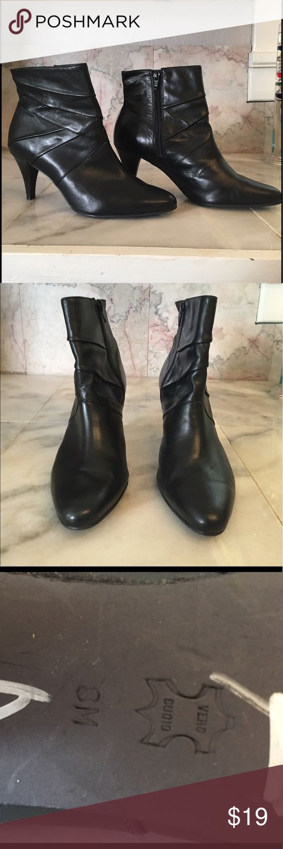 """Antonio Melani Leather High Heel Ankle Boots Antonio Melani Women's """"Satchel"""" Side Zip High Heel Ankle Boots  Black Leather Upper and Sole  Made in Brazil  Size 8  Smoke Free, Pet Friendly  Thank you for looking! ANTONIO MELANI Shoes Ankle Boots & Booties"""