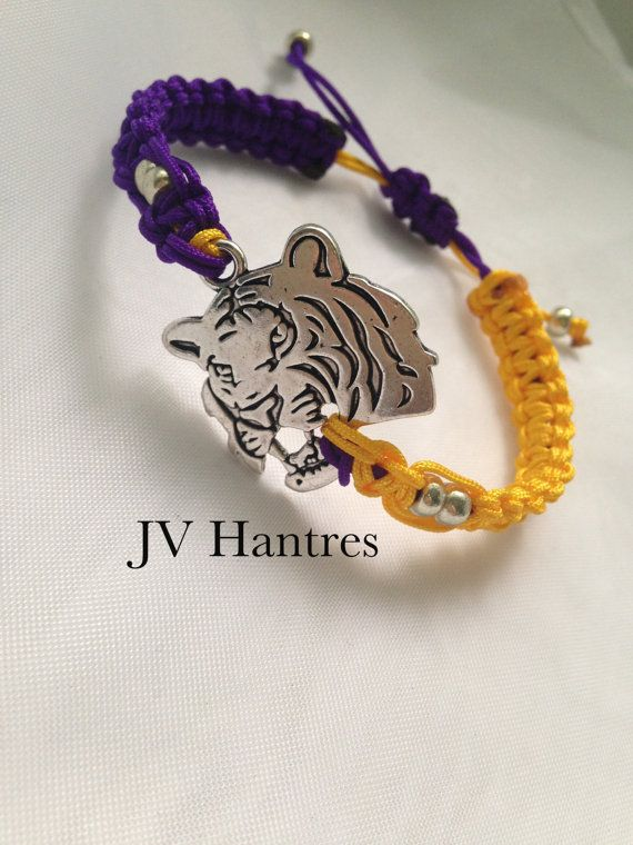 Hey, I found this really awesome Etsy listing at https://www.etsy.com/listing/184320865/lsu-game-day-macrame-bracelet-qty-1