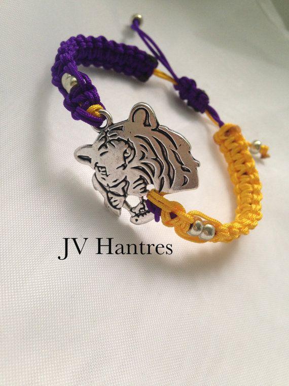 LSU Game Day Macrame Bracelet QTY  1 by JVHANTRES on Etsy, $12.50