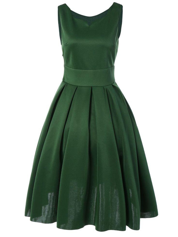 Vintage Sweetheart Neck Tank Dress in Green | Sammydress.com