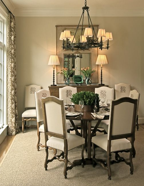 Monogrammed chair backs - I like!  Anita Holland Interiors / Portfolio {or iron letters on back like on Donna Decorates Dallas}