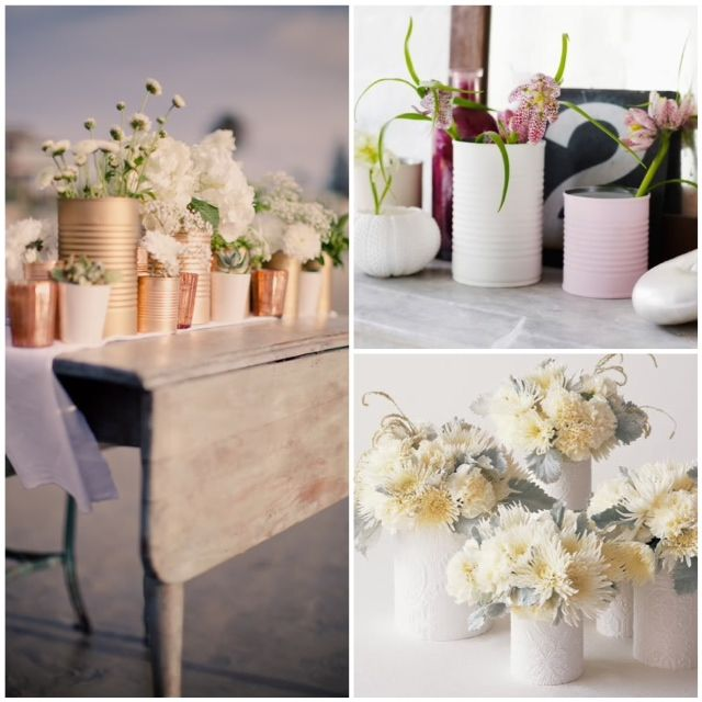 DIY painted tin cans _ glitterweddings.com