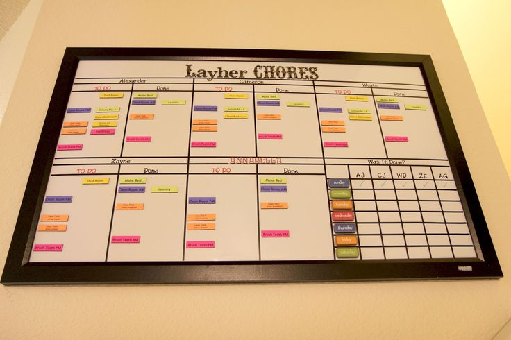 magnetic chore charts for multiple children | Dry Erase Chore Chart