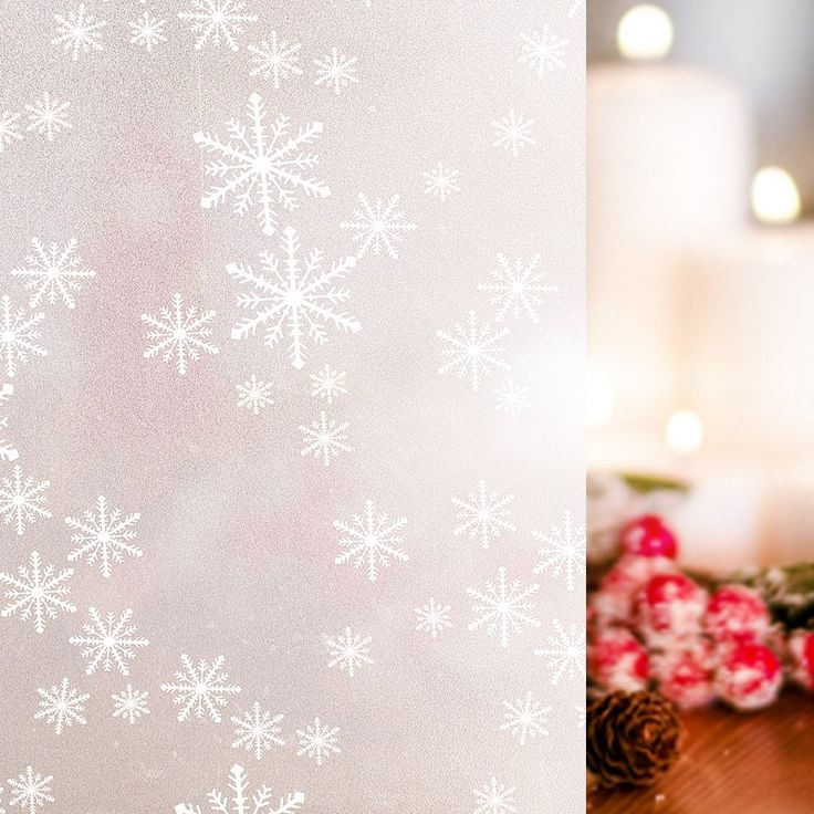 Rabbitgoo Privacy Window Film Christmas Snowflake Decorative Frosted Window Cling Non-Adhesive Anti Uv 35.4in. By 78.7in. (90 X 200CM)
