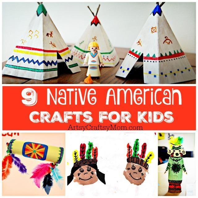 9 Native American Crafts for Kids. Kindergarten, preschool, and elementary school crafts.  Teepee, kachina dolls, headdress,  rainstick, totem poles and more